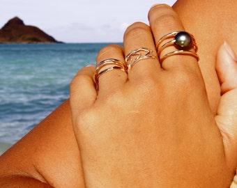 Triple Tahitian Spiral Ring