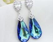 Wedding Jewelry Bridesmaid Gift Bridal Earrings Bermuda Blue Swarovski Crystal Tear Drop Earrings Peacock Jewelry Something Blue