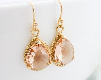Champagne Earrings Bridesmaid Gift Wedding Jewelry Bridal Jewelry Bridesmaid Earrings Peach Glass Tear Drop Earrings Trimmed Pear Earrings