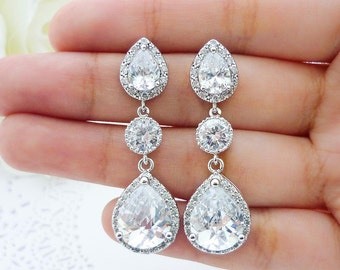 Wedding Jewelry Bridesmaid Gift Bridesmaid Jewelry Bridal Jewelry Clear White LUX (L) Cubic Zirconia Tear Drop Earrings Dangle Earrings