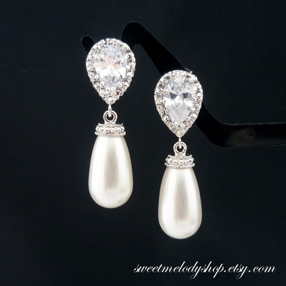 Wedding Gift For Bride Jewelry : Wedding Jewelry Bridesmaid Gift Bridal Pearl Earrings Bridesmaid ...