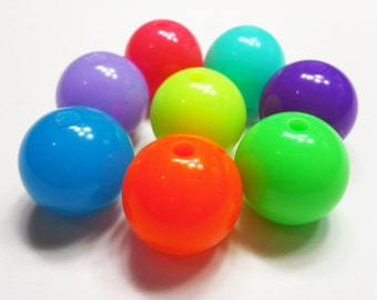 2PCS Multicolor Neon Acrylic Round Gumball Beads 20mm - You Choose Color