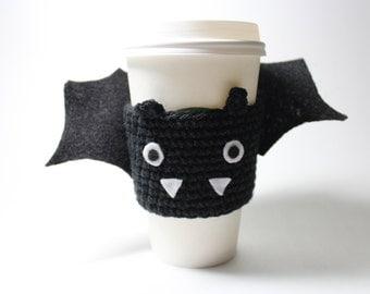 Bat Coffee Cozy, Halloween Crochet Can Holder, Coffee Sleeve, Animal Drink Cup Holder, Java Jacket