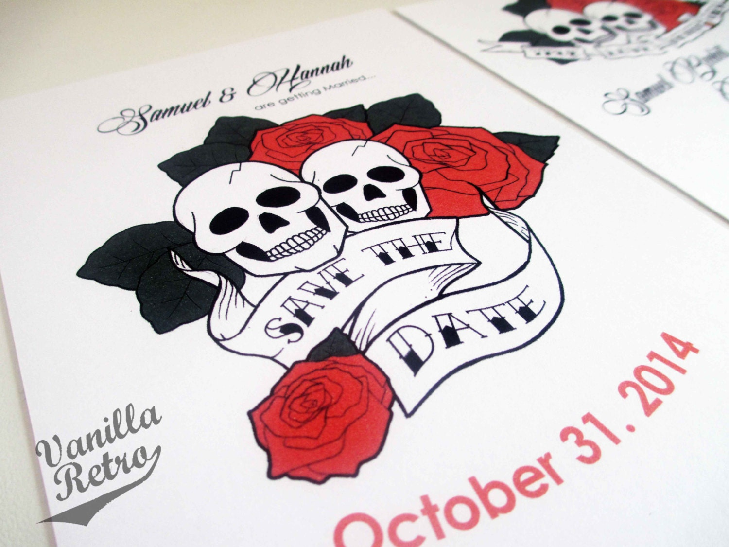 Skull Tattoo Rockabilly Wedding Invitation Suite, customized suite ...