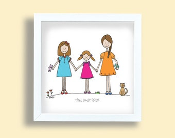 Three Sisters Clipart Illustration Girl Etsy