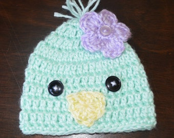 Crochet Easter Chick Baby Beanie Hat Photo Prop Custom Made Boy Girl