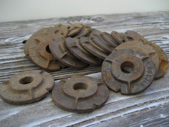 Vintage rusty metal malleable washers for altered art