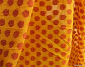 Handloom Paisley Cotton Silk Brocade Fabric in Yellow and Reddish Maroon - Decorative Chanderi Silk Fabric