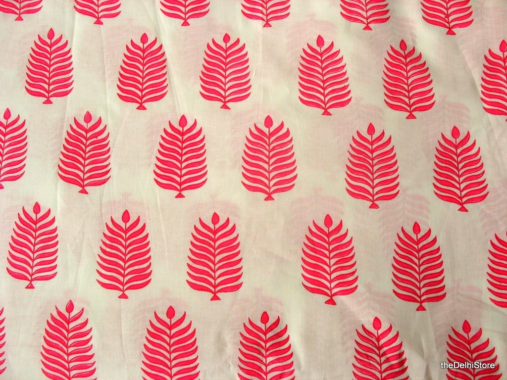 Leaf block print indian cotton dress fabric remnant in white for Fabric printing