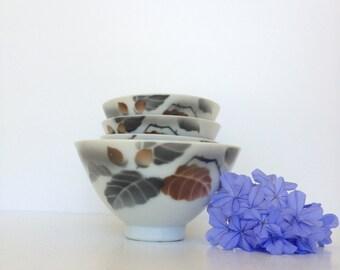 Japanese Vintage Porcelain Rice Bowls, Set of 5