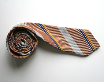 Striped skinny necktie, 80's vintage deadstock, gray brown and blue