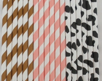 "Paper Straws ""COWGIRL"" PARY Mix...25 ct......w/ DIY Printable Flags Paper Drinking Straws Cake Pop Sticks Brithdays Weddings"