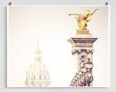 Paris photography - Invalides II. - Paris bridges,Paris photo,Fine art photography,Paris decor,8x10,white,yellow,Fine art prints,Art Posters