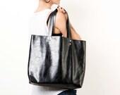 Black Leather Tote Bag - Over Size Shoulder Bag - Women bag - Travel Bag - Vacation Leather Bag - Weekend Bag