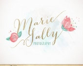 Watercolor Calligraphy Premade Logo / hand drawn  flowers / Boutique, Photography