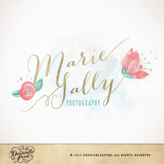 Items similar to watercolor calligraphy premade logo