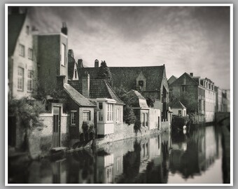 Black And White Photography, Bruges Belgium, Canal Houses Bruges, Travel Photography,