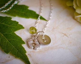 Baby Feet Necklace for New Mom and New Baby with Birthstone - Personalized Initial Necklace with Baby's Initial and Baby Feet