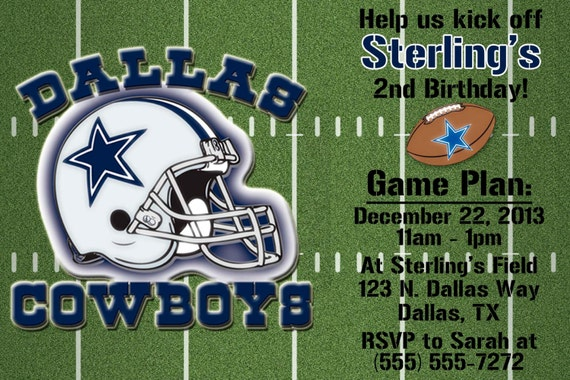 Cowboys Football Invitation OR Thank you card – Dallas Cowboys Birthday Invitations