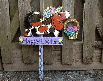 Easter basset hound garden stake lawn ornament