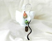 Beaded Bookmark, Metal Shepherd's Hook, Porcelain Beads, Hand Painted, Gifts for Teachers, Simple Gift Ideas,