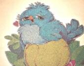 Vintage Baby Bird/Caterpillar Glitter Heat-Transfer Roach 1970's