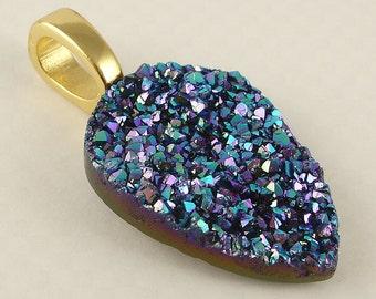 Titanium Druzy Quartz necklace pendant on 18K Gold plated bail Best Selling Jewerly