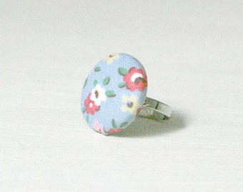Floral Button Ring, Blue and Red, Fabric Covered Button, stocking filler stuffer