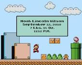 Mario Level Birth Record Cross Stitch Pattern (PDF)