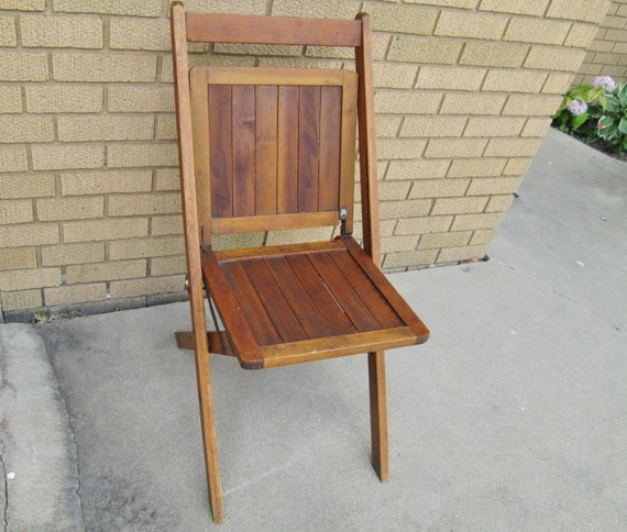 wood slat folding chair vintage