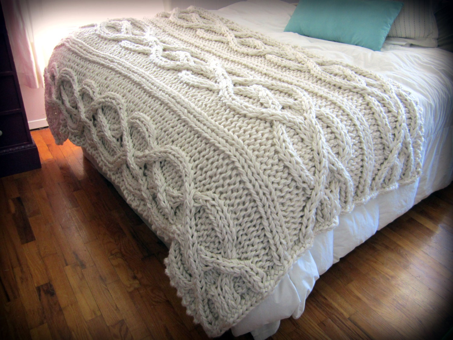 Knitting Blankets : Luxury oversized cable knit blanket made to order by