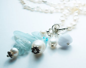 Aquamarine Necklace . Freshwater Pearl . Sterling Silver Necklace