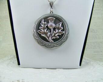 Thistle Locket, Scottish Thistle Locket, Thistle Necklace, Keepsake Locket, Trinket Locket, Celtic Locket, Silver Locket, Cremains Locket