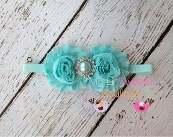 NEW Aqua headband- Aqua sparkle headband- double flower headband- baby headband- infant headband- toddler headband