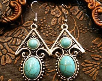 Arrowhead tribal turquoise earrings ethnic jewelry