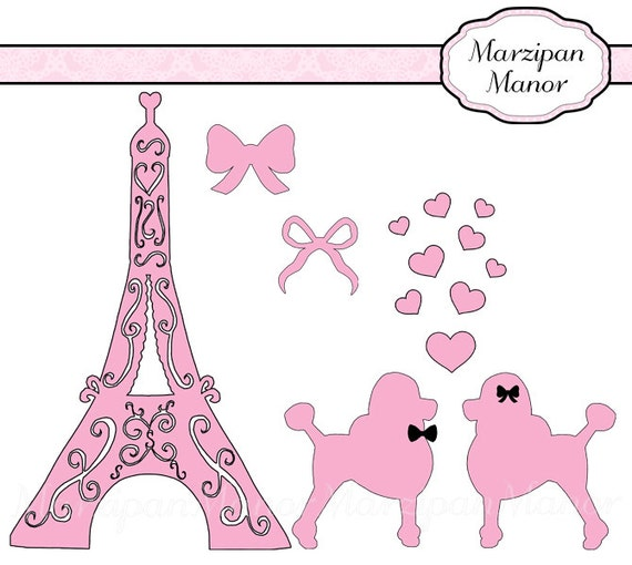 Digital Clipart Silhouette Pink Paris Poodles by MarzipanManor