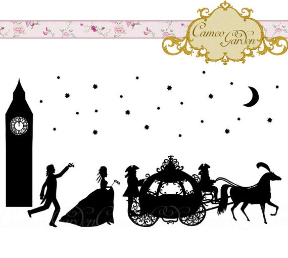 Items similar to Silhouette Cinderella Clipart  Romantic Fairy