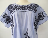 Mexican Embroidered Blouse Split Sleeve Cotton Top In Blue