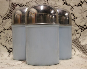 Vintage Blue Metal Canister Set of 3