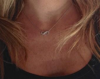 Small 14k Gold Graduated Diamond Infinity Necklace