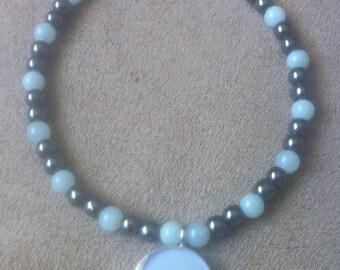 Balance Emotions..Amazonite Hematite Bracelet with Bird Charm.. Intuition...