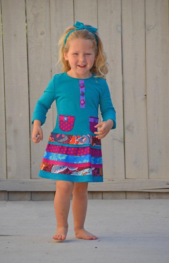 Girls school dress pattern matilda jane inspired pdf sewing for Easy to make t shirt dress