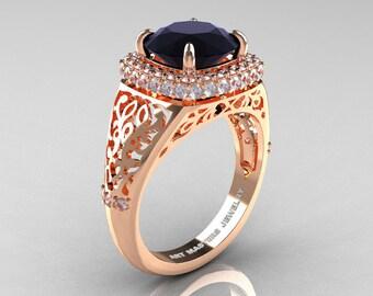 High Fashion 14K Rose Gold 3.0 Ct Back and White Diamond Designer Wedding Ring R407-14KRGDBD