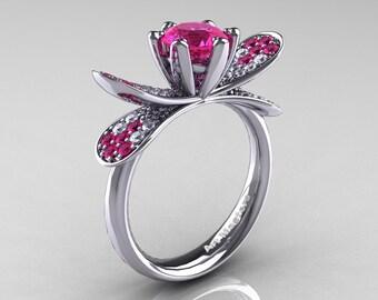 14K White Gold 1.0 Ct Pink Sapphire Diamond Nature Inspired Engagement Ring Wedding Ring R671-14KWGDPS