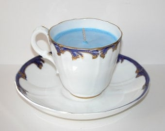 Delightful Antique Flow Blue Bone China Candle Cup