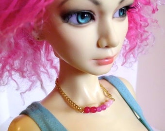 Doll Necklace - Pink Ombre - beaded jewelry for SD sized BJD or American Model, dollfie dream