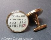 Personalized Cufflinks Solid Bronze Custom Calendar groomsmen Gift for Dad