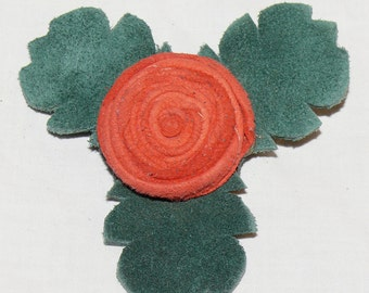 Red Orange Button Rose Pin