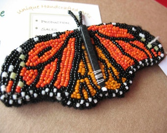 Monarch Viceroy Butterfly OOAK bead embroidery on handmade felt Seed beads