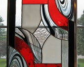 """Black, Red, White, and Clear Abstract Geometric Stained Glass Panel -- """"Classic Elegance II"""""""